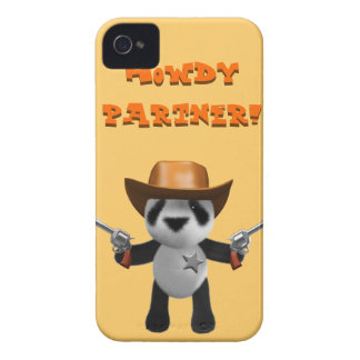 Cute 3d Baby Panda Sheriff - Howdy Partner! iPhone 4 Case