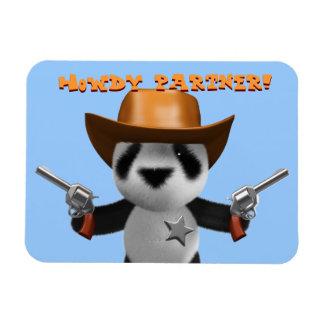 Cute 3d Baby Panda Sheriff - Howdy Partner! Rectangular Magnets