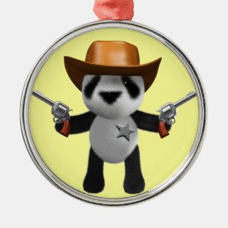 Cute 3d Baby Panda Sheriff Metal Ornament