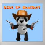 Cute 3d Baby Panda Sheriff Print