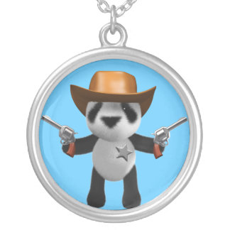 Cute 3d Baby Panda Sheriff Round Pendant Necklace