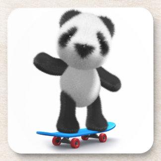 Cute 3d Baby Panda Skateboard Drink Coaster