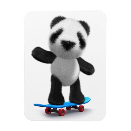 Cute 3d Baby Panda Skateboard Magnet