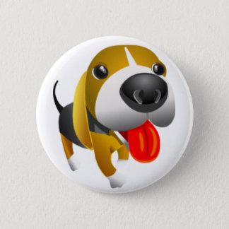 Cute 3d Basset Hound Dog Button