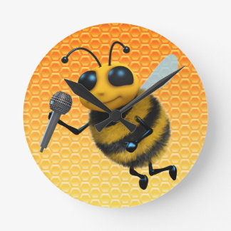 Cute 3d Bee sings a song Round Clock