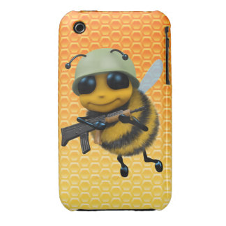 Cute 3d Bee Soldier Background Case-Mate iPhone 3 Case