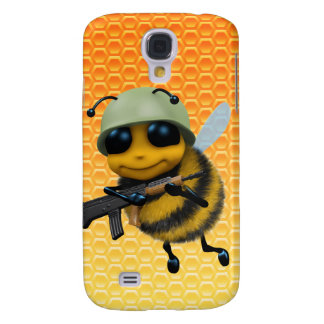 Cute 3d Bee Soldier Honeycomb background Samsung S4 Case