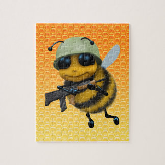 Cute 3d Bee Soldier Honeycomb Jigsaw Puzzle