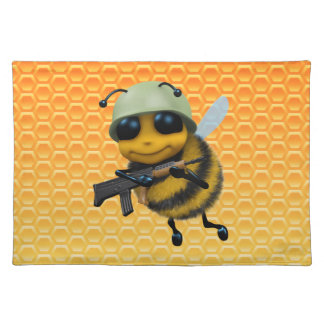 Cute 3d Bee Soldier honeycomb Placemat