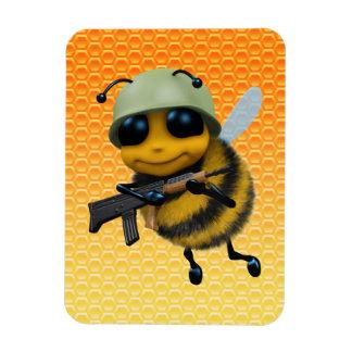 Cute 3d Bee Soldier Honeycomb Rectangular Photo Magnet
