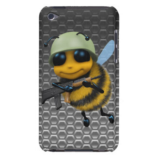 Cute 3d Bee Soldier Metallic Background Barely There iPod Case