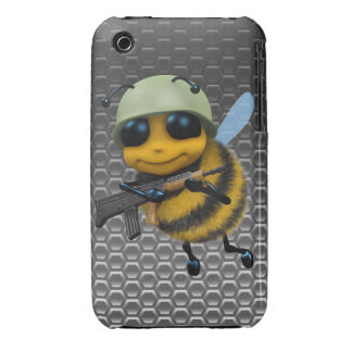 Cute 3d Bee Soldier Metallic Background iPhone 3 Case-Mate Cases