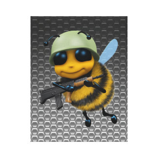 Cute 3d Bee Soldier Metallic Honeycomb Canvas Print