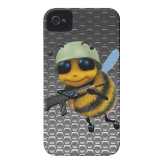Cute 3d Bee Soldier Metallic Honeycomb iPhone 4 Case