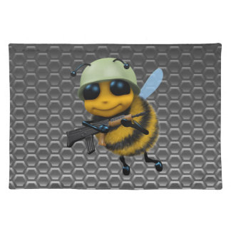 Cute 3d Bee Soldier metallic honeycomb Cloth Placemat