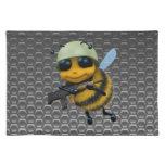 Cute 3d Bee Soldier metallic honeycomb Placemats