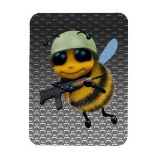 Cute 3d Bee Soldier Metallic Honeycomb Rectangular Photo Magnet