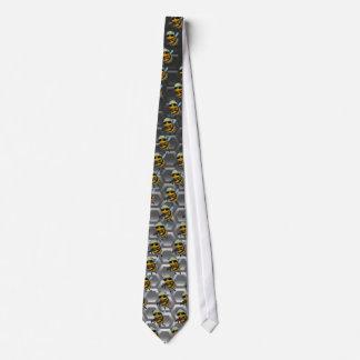 Cute 3d Bee Soldier metallic honeycomb Tie