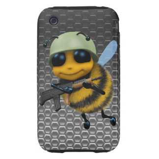 Cute 3d Bee Soldier Metallic Honeycomb Tough iPhone 3 Case