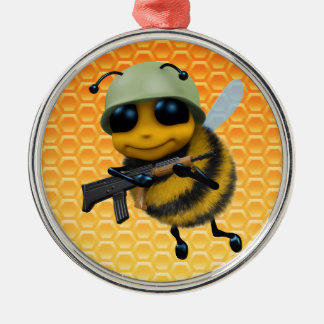 Cute 3d Bee Soldier Round Metal Christmas Ornament