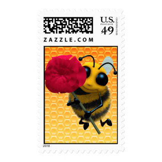 Cute 3d Bee with Pretty Red Rose (editable) Postage Stamp