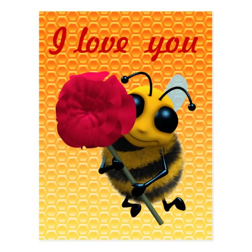 Cute 3d Bee with Pretty Red Rose (editable) Post Cards