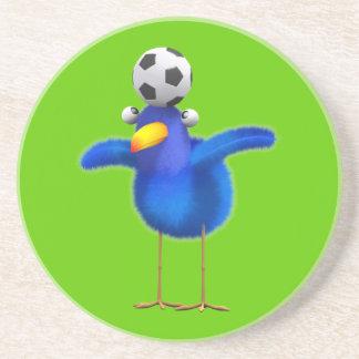 Cute 3d Bird plays Football (editable) Beverage Coasters
