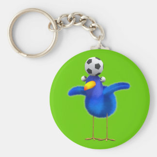 Cute 3d Bird plays Football (editable) Keychain