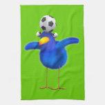 Cute 3d Bird plays Football (editable) Kitchen Towels