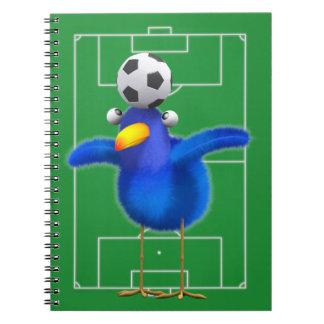 Cute 3d Bird plays Football (editable) Notebooks