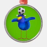 Cute 3d Bird plays Football (editable) Ornament