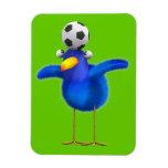 Cute 3d Bird plays Football (editable) Vinyl Magnets