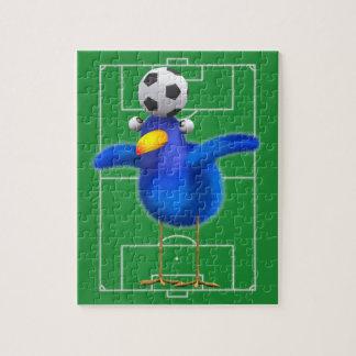 Cute 3d Bird plays Football (editable) Jigsaw Puzzle