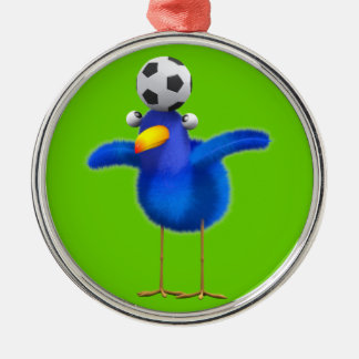 Cute 3d Bird plays Football (editable) Round Metal Christmas Ornament