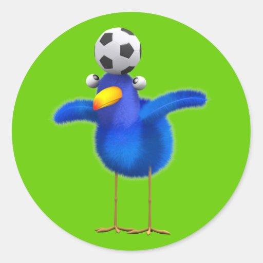 Cute 3d Bird plays Football (editable) Stickers
