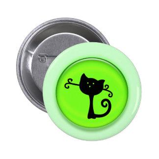 Cute 3D Black Cartoon Cat Pinback Buttons