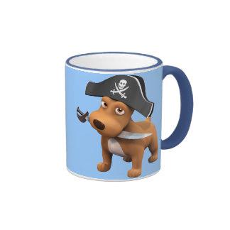 Cute 3d Dog Pirate (editable) Ringer Mug