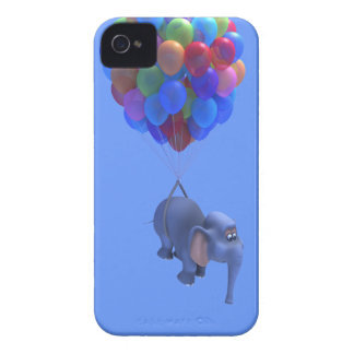 Cute 3d Elephant flying Balloons (editable) iPhone 4 Cases