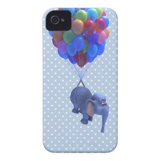 Cute 3d Elephant flying Balloons (editable) iPhone 4 Cover