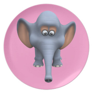 Cute 3d Elephant Party Plate
