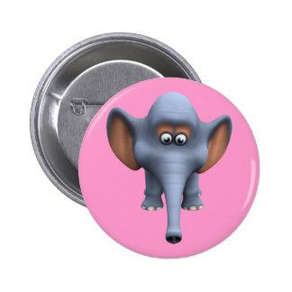 Cute 3d Elephant Pinback Button