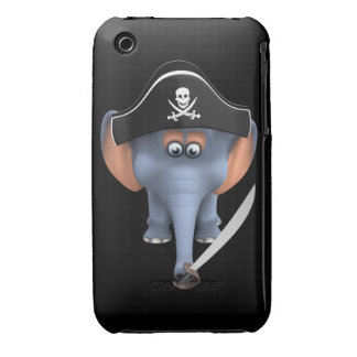 Cute 3d Elephant Pirate (editable) iPhone 3 Cover