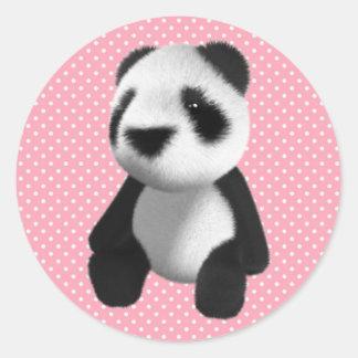 Cute 3d Panda Bear Sitting (editable) Classic Round Sticker