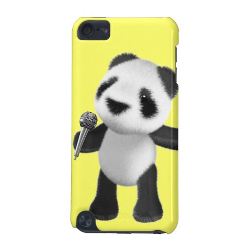 Cute 3d Panda Sings microphone (editable) iPod Touch 5G Covers
