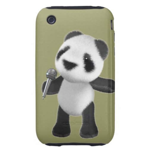 Cute 3d Panda Sings microphone (editable) Tough iPhone 3 Covers