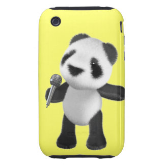 Cute 3d Panda Sings microphone (editable) Tough iPhone 3 Cases