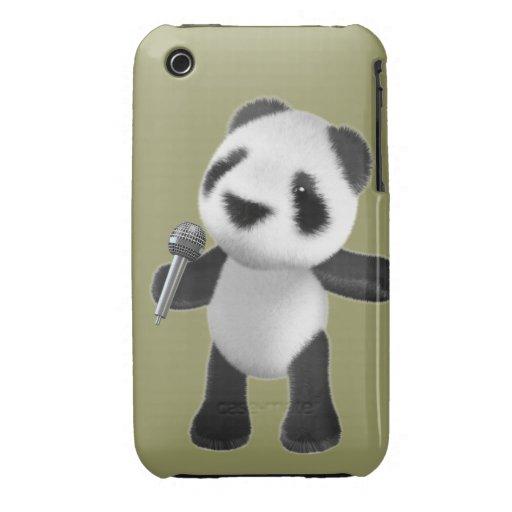 Cute 3d Panda Sings microphone (editable) iPhone 3 Cover