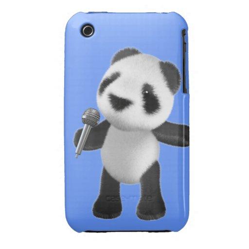Cute 3d Panda Sings microphone (editable) iPhone 3 Case-Mate Case