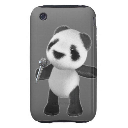 Cute 3d Panda Sings microphone (editable) Tough iPhone 3 Case