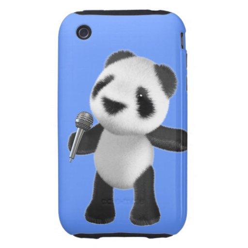 Cute 3d Panda Sings microphone (editable) iPhone 3 Tough Covers